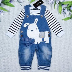LvYinli blue & white puppy overall outfit set